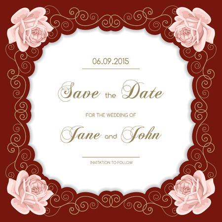 Weinlese-Hochzeitseinladung mit Rosen. Einladung Vorlage mit Goldrahmen Curling. Sparen sie das datum Design. Vektor-Illustration Standard-Bild - 46092274