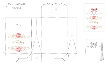 Gift bag template with hand drawn roses and curly design elements in retro style. Die-stamping Illustration