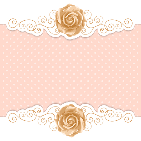Background with hand drawn roses and gold curly design elements in retro style. Greeting card, invitation template. Vector illustration