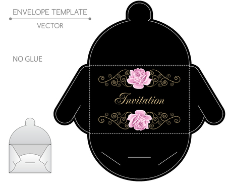 cut flowers: Vector envelope template with hand drawn roses and golden curly design elements in retro style. Die-stamping