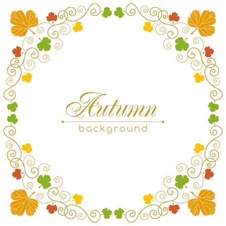 Autumn vector background with hand drawn leaves and curly design elements. Greeting card template. Place for your text