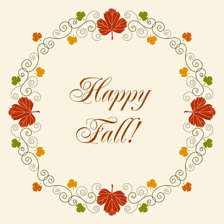 Happy Fall. Greeting card template with hand drawn autumn leaves and curly design elements on white background. Illustration
