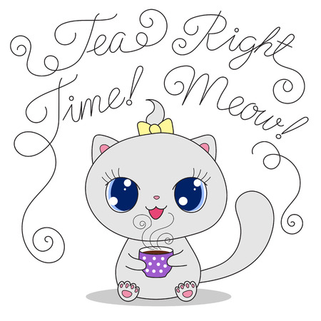 meow: Cute cartoon cat with cup of tea and text Tea time Right meow. Hand drawn vector illustration