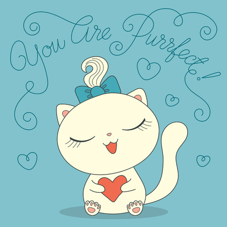Cute cartoon cat with heart and text You are purrfect. Hand drawn vector illustration