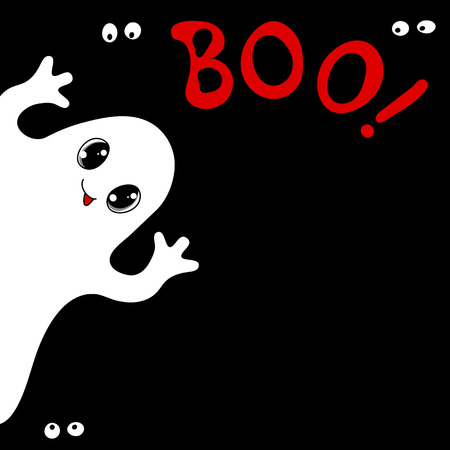 ghosts: Halloween card with cute ghost, spiders and text Boo. Hand drawn vector illustration