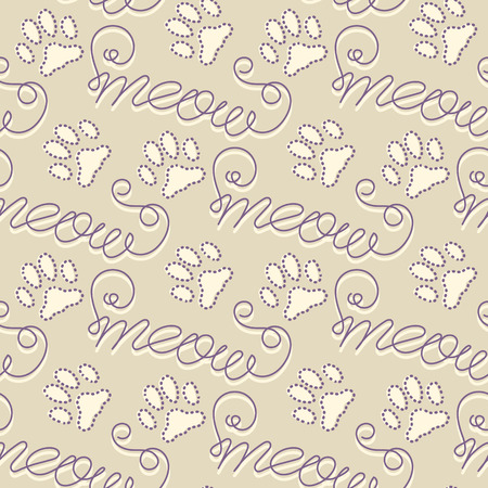meow: Seamless pattern with cat footprints and handwritten text Meow. Hand drawn vector illustration