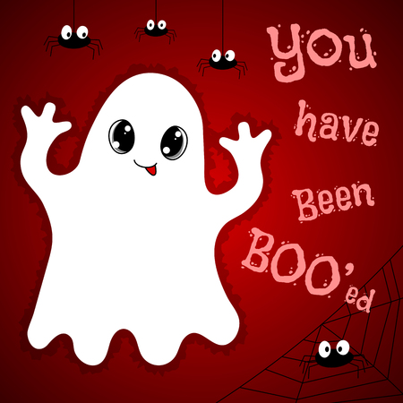 Halloween card with cute ghost, spiders and text You have been booed. Hand drawn vector illustration