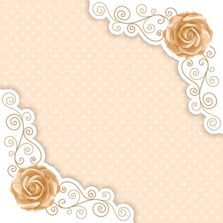 Background with hand drawn roses and golden curly border in retro style. Greeting card, invitation template. Vector illustration