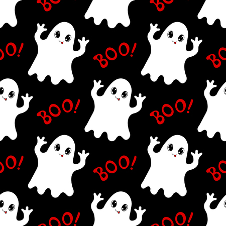 boo: Halloween seamless pattern with cute ghosts and text Boo. Hand drawn vector illustration