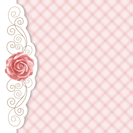 Background with hand drawn roses and golden curly design element in retro style. Greeting card, invitation template. Vector illustration