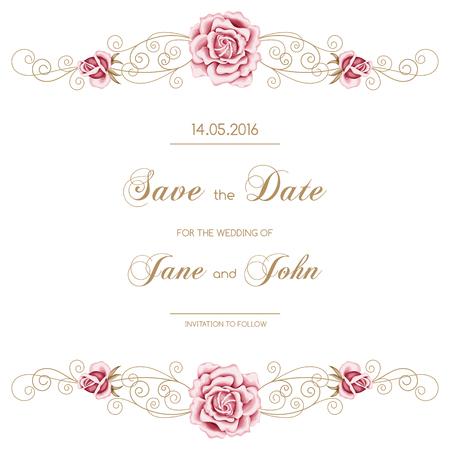 Weinlese-Hochzeitseinladung mit Rosen. Einladung Vorlage mit Goldrahmen Curling. Sparen sie das datum Design. Vektor-Illustration Standard-Bild - 46635698