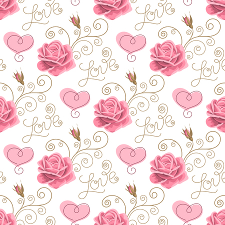 Seamless pattern with pink roses, hearts, handwriting words love and curly design elements on white background. Vector illustration in retro style.