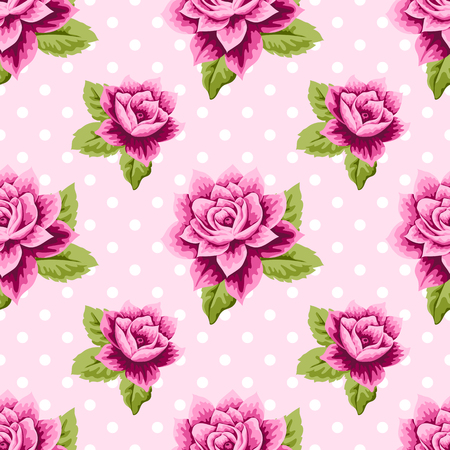 light pink: Seamless pattern with pink roses and leaves on light pink polka dot background. Vector illustration in retro style. Illustration