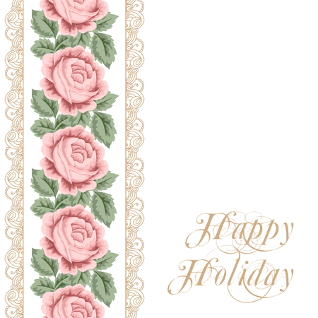 vintage lace: Vintage flower card with roses, leaves and golden lace on white background. Vector Illustration Illustration
