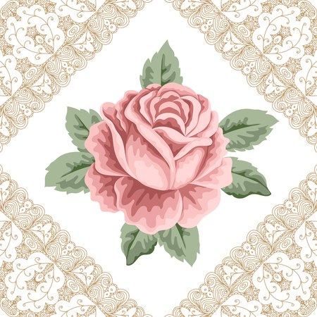 Vintage flower card with hand drawn rose, leaves and lace corners. Vector Illustration