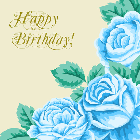 blue roses: Vintage flower card with blue roses and leaves. Vector Illustration