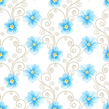 digital design: Seamless pattern with flowers and curly design elements on white background. Vector illustration in retro style. Illustration