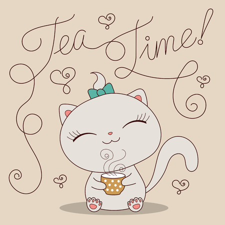 Cute cartoon cat with cup of tea and text Tea time. Hand drawn vector illustration