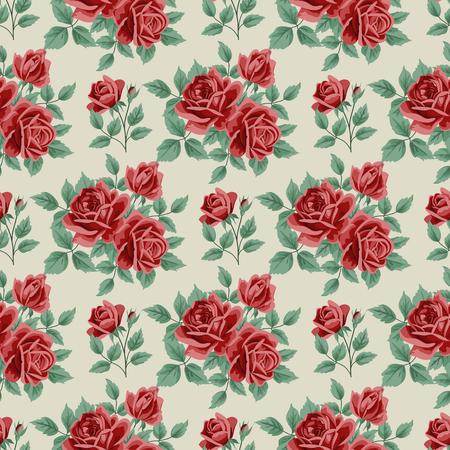 Nahtloser Hintergrund mit Rosen und Blätter auf Beige Hintergrund. Vektor-Illustration im Retro-Stil. Standard-Bild - 47162133