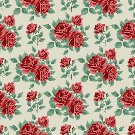 Seamless pattern with roses and leaves on beige background. Vector illustration in retro style. Ilustração
