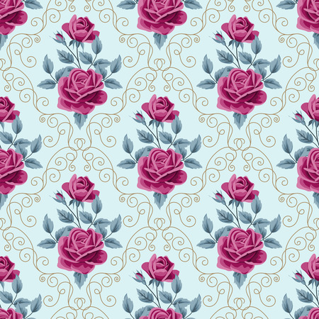 digital design: Seamless pattern with vine red roses and curly design elements on light blue background. Vector illustration in retro style. Illustration