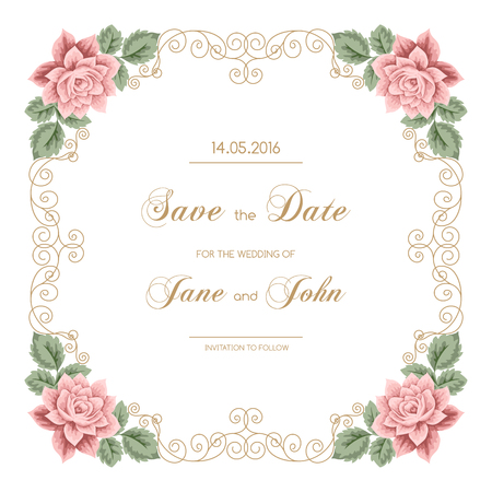 calligraphy frame: Vintage wedding invitation with roses and calligraphy frame. Save the date design. Vector illustration