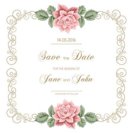 calligraphy frame: Invitaci�n de la boda de la vendimia con las rosas y el marco de la caligraf�a. Guarde el dise�o de la fecha. Ilustraci�n vectorial