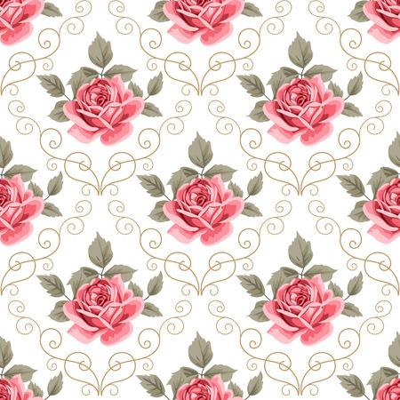 Modelo inconsútil con las rosas rosadas y elementos de diseño rizado sobre fondo blanco. Ilustración vectorial en estilo retro.