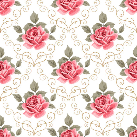 Seamless pattern with pink roses and curly design elements on white background. Vector illustration in retro style.