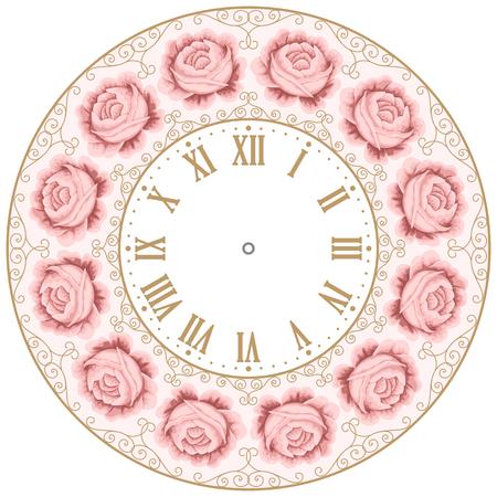orologi antichi: orologio faccia dell'annata con le rose disegnate a mano colorate ed elementi di design riccio. Shabby chic illustrazione vettoriale