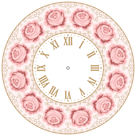 round the clock: Vintage clock face with hand drawn colorful roses and curly design elements. Shabby chic vector illustration