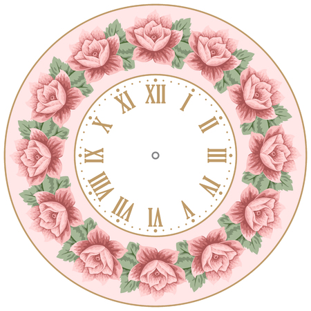 vintage clock: Vintage clock face with hand drawn colorful roses. Shabby chic vector illustration