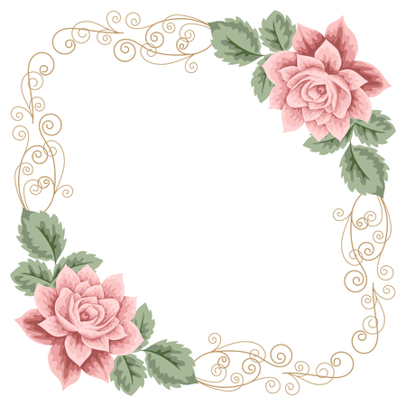 Vintage frame with roses, leaves and calligraphy design element. Place for your text. Invitation, greeting card template