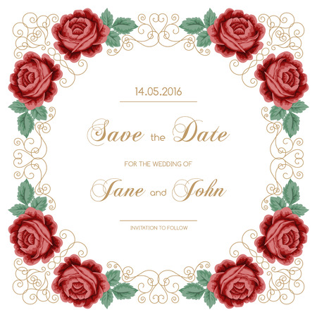 red rose bouquet: Vintage wedding invitation with roses and calligraphy frame. Save the date design. Vector illustration