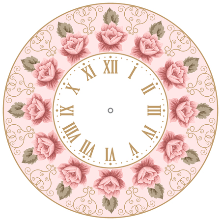 vintage clock: Vintage clock face with hand drawn colorful roses and curly design elements. Shabby chic vector illustration
