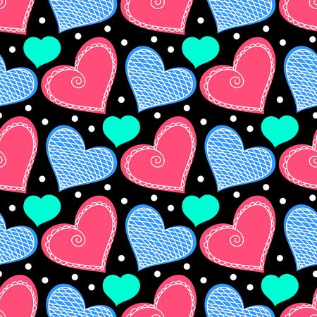 corazones azules: Modelo inconsútil con doodle de la estilizada corazones. Dibujado a mano ilustración vectorial