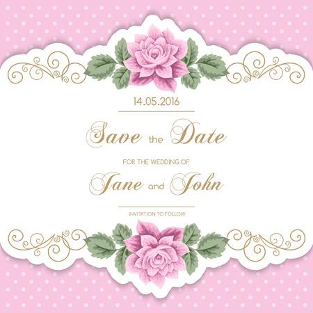 tarjeta de invitacion: Invitación de la boda de la vendimia con las rosas y el marco de la caligrafía en el fondo del lunar. Guarde el diseño de la fecha. Ilustración vectorial
