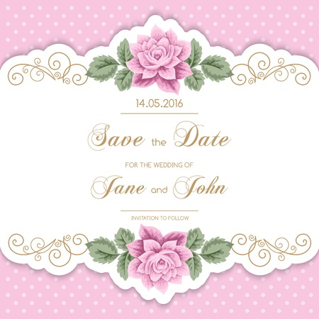 pink wedding: Vintage wedding invitation with roses and calligraphy frame on polka dot background. Save the date design. Vector illustration