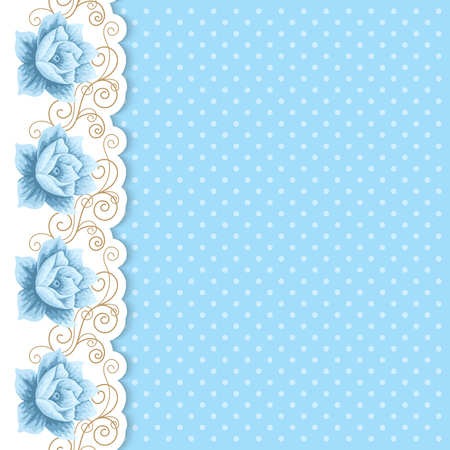 wedding backdrop: Background with hand drawn roses and golden curly border in retro style. Greeting card, invitation template. Vector illustration