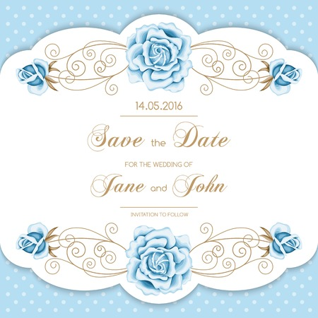 garden flowers: Vintage wedding invitation with roses and calligraphy frame on polka dot background. Save the date design. Vector illustration