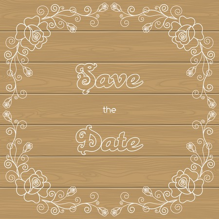 calligraphy frame: Vintage wedding invitation with roses and calligraphy frame on wood background. Save the date design. Vector illustration