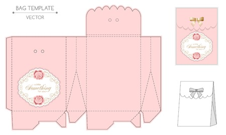 gift bag: Gift bag template with hand drawn roses and curly design elements in retro style. Die-stamping Illustration