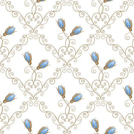 rosebuds: Seamless pattern with blue rosebuds and curly design elements on white background. Vector illustration in retro style. Illustration