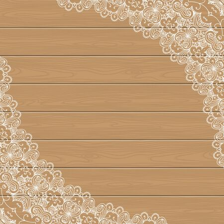 nostalgia: Wood background with lace corners. Greeting card, invitation template in retro style. Place for your text. Vector illustration