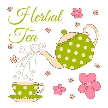 afternoon: herbal tea card design with polka dot teapot and cup. Illustration