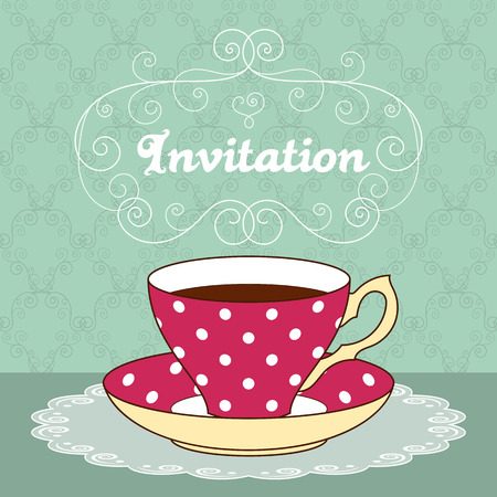 illustration of polka dot tea cup with coffee or tea and curly design elements. Greeting card or party invitation template