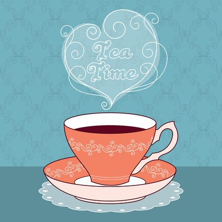 meal time: illustration of vintage tea cup with coffee or tea. Tea time text message. Greeting card or party invitation template