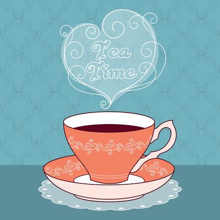 taza de te: ilustraci�n de la taza de t� de la vendimia con el caf� o el t�. La hora del t� mensaje de texto. Tarjeta de felicitaci�n o plantilla de la invitaci�n del partido