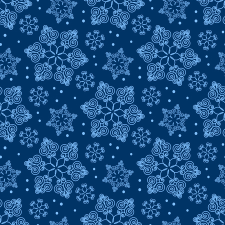 blue snowflakes: Seamless pattern with hand drawn snowflakes. Christmas vector illustration. Template for greeting card, invitation, wrapping