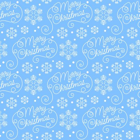 merry christmas text: Seamless pattern with hand drawn snowflakes. Merry Christmas text message. Christmas vector illustration. Template for greeting card, invitation, wrapping